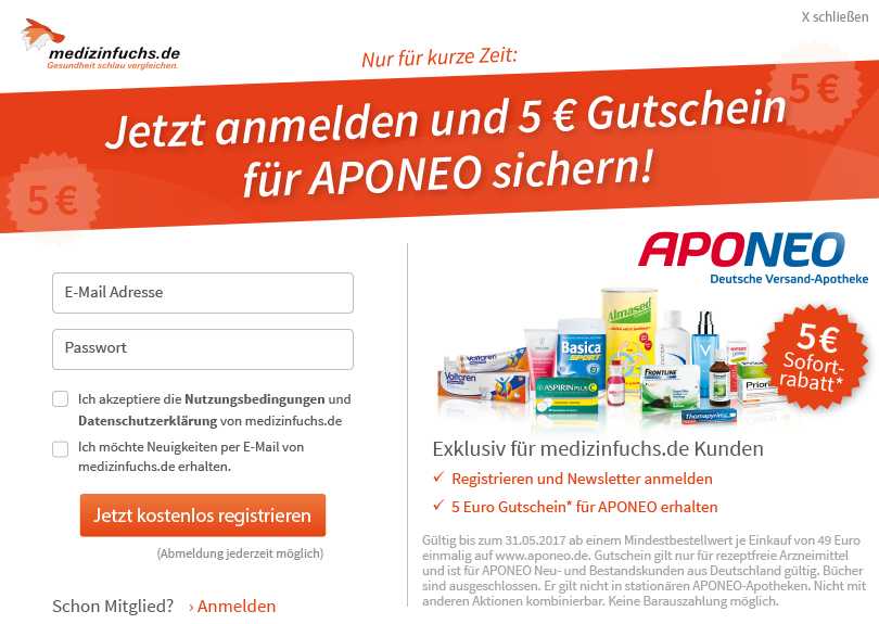 medizinfuchs.de - Newsletter-Aktion von APONEO