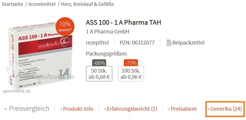 generika auf medizinfuchs.de