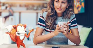 Fuchs Mythen entzieht Kaffee Flüssigkeit