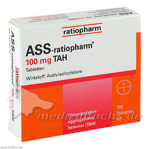 Ass-ratiopharm 100mg TAH, 100 ST, ratiopharm GmbH